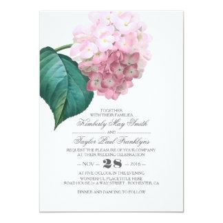 """Boda floral del vintage rosado del Hydrangea Invitación 5"""" X 7"""""""