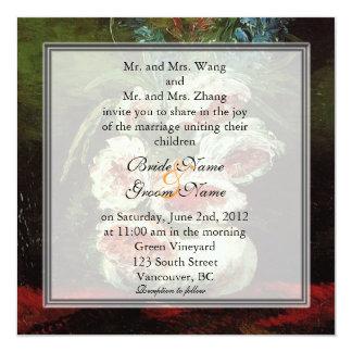 """Boda floral del vintage, Van Gogh Invitación 5.25"""" X 5.25"""""""