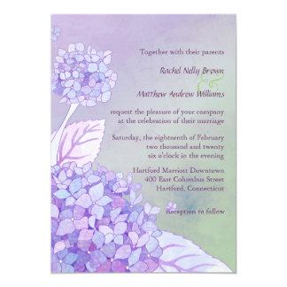 """Boda floral formal de los Hydrangeas púrpuras Invitación 5"""" X 7"""""""