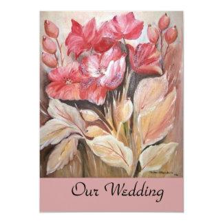 "boda floral invitación 5"" x 7"""