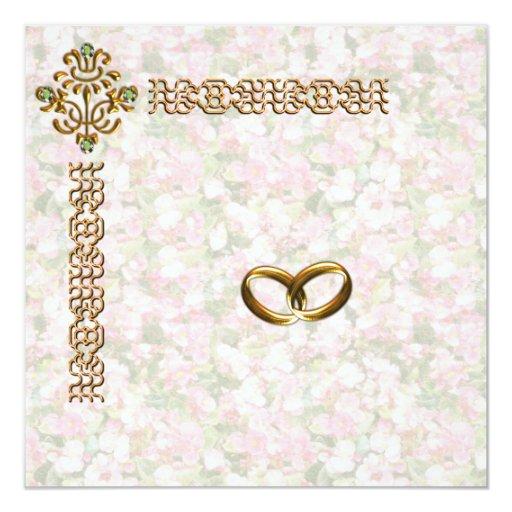 Boda floral Jewelled de oro Invitacion Personalizada