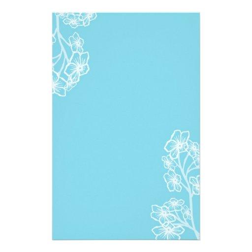 Boda floral moderno azul del este personalized stationery