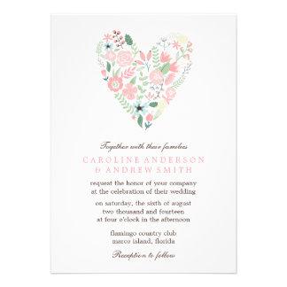 Boda floral moderno del corazón comunicados personales