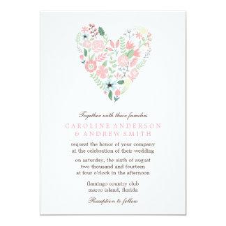 Boda floral moderno del corazón invitación 12,7 x 17,8 cm