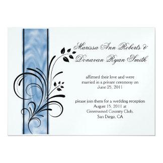 Boda floral negro del poste de la raya azul de 01 invitación 13,9 x 19,0 cm