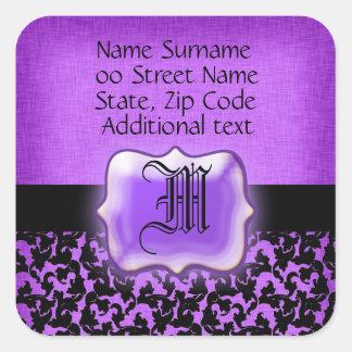 Boda floral negro púrpura del damasco pegatina cuadrada