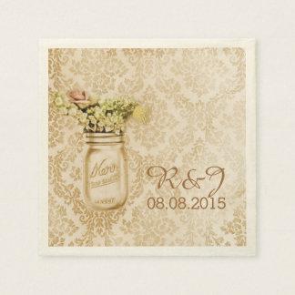 boda floral occidental del tarro de albañil del da servilleta de papel