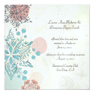 """Boda floral rosado abstracto del poste del gris invitación 5.25"""" x 5.25"""""""