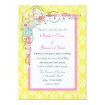 Boda floral rosado amarillo brillante de la invitación 12,7 x 17,8 cm