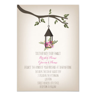 """Boda floral rosado del árbol de la linterna invitación 5"""" x 7"""""""