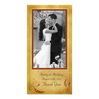 Boda floral rústico del país de la caída del tarjeta personal con foto
