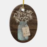 Boda floral rústico del tarro de albañil del país adorno navideño ovalado de cerámica