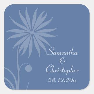 Boda floral simple azul de Cachemira Calcomanía Cuadradas Personalizadas