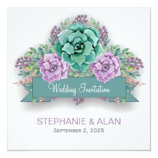 """Boda floral suculento elegante de la acuarela invitación 5.25"""" x 5.25"""""""