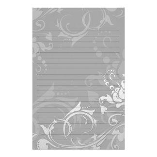 boda floral swirly moderno greyscale papeleria de diseño
