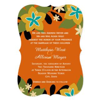 Boda floral tropical anaranjado invitación personalizada