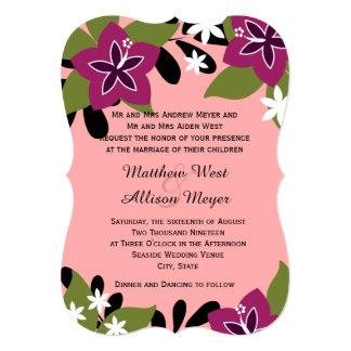 Boda floral tropical del ciruelo rosado comunicado personalizado