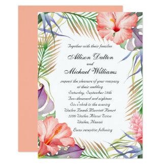 """Boda floral tropical hawaiano de Luau Invitación 5"""" X 7"""""""