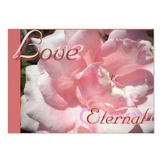 """Boda floreciente color de rosa rosado invitación 5"""" x 7"""""""