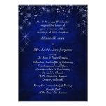 Boda formal azul de la noche estrellada invitación personalizada