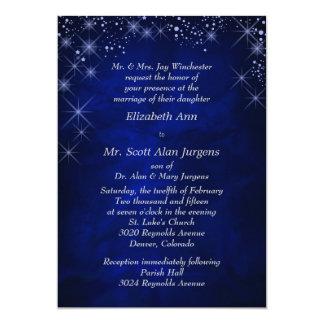 """Boda formal azul de la noche estrellada invitación 5"""" x 7"""""""