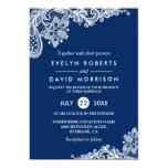 """Boda formal blanco de los azules marinos elegantes invitación 5"""" x 7"""""""