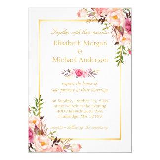 """Boda formal blanco del oro elegante floral invitación 5"""" x 7"""""""