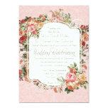 Boda formal color de rosa antiguo del ramo floral invitación
