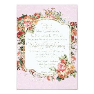 """Boda formal color de rosa antiguo del ramo floral invitación 5"""" x 7"""""""