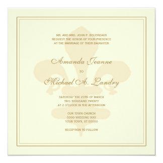 """Boda formal de la flor de lis de oro invitación 5.25"""" x 5.25"""""""