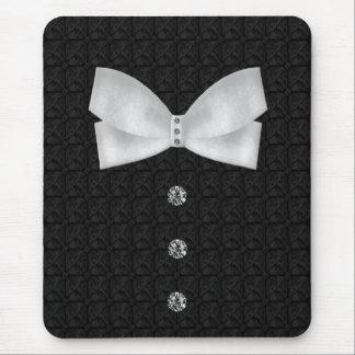 Boda formal de la pajarita del diamante artificial mouse pads