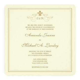 """Boda formal de la voluta de oro de la flor de lis invitación 5.25"""" x 5.25"""""""