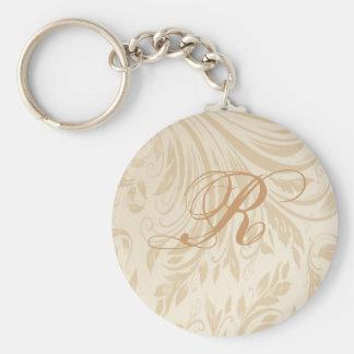 Boda formal del damasco del oro del champán llavero redondo tipo pin