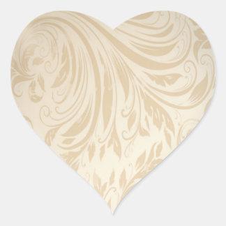 Boda formal del damasco del oro del champán pegatina en forma de corazón