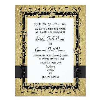 """Boda formal elegante de oro elegante de la hoja de invitación 4.25"""" x 5.5"""""""