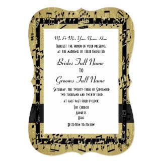 """Boda formal elegante de oro elegante de la hoja de invitación 5"""" x 7"""""""