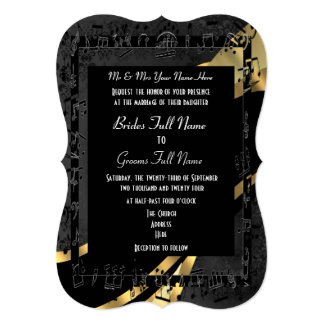 """Boda formal elegante del oro negro elegante invitación 5"""" x 7"""""""