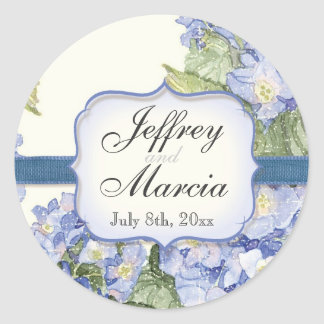 Boda formal floral del soporte azul del Hydrangea Pegatina Redonda