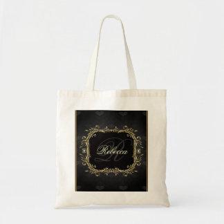 Boda formal real del negro elegante del oro bolsa lienzo
