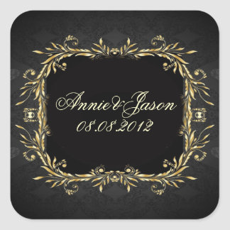 Boda formal real del negro elegante del oro calcomanías cuadradass personalizadas