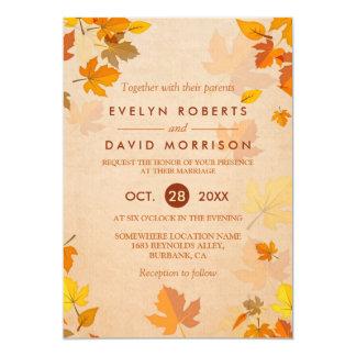 """Boda formal rústico de las hojas de otoño del oro invitación 5"""" x 7"""""""