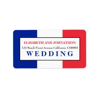 Boda francés de la bandera etiqueta de dirección