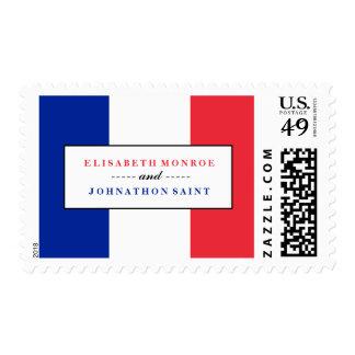 Boda francés de la bandera sello postal