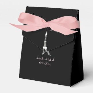 Boda francés rosado blanco negro de la torre cajas para regalos de boda