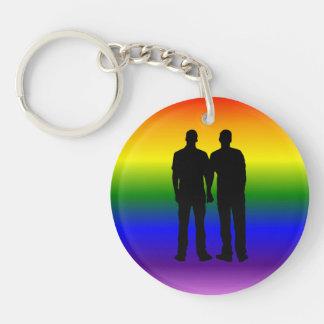 Boda gay de encargo de los pares del orgullo gay llavero redondo acrílico a doble cara