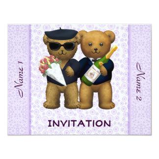 Boda gay - invitación - lila de los osos de invitación 10,8 x 13,9 cm