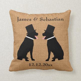 Boda gay personalizado Labradors negro de los Cojín Decorativo