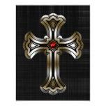 Boda gótico cruzado del oro invitación 10,8 x 13,9 cm