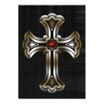 Boda gótico cruzado del oro invitación 12,7 x 17,8 cm