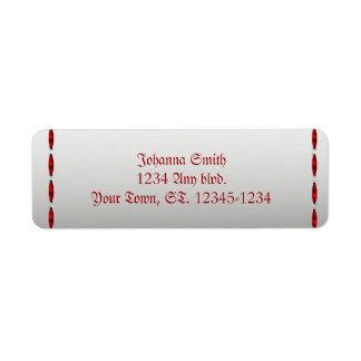 Boda gótico de la cinta roja etiquetas de remite